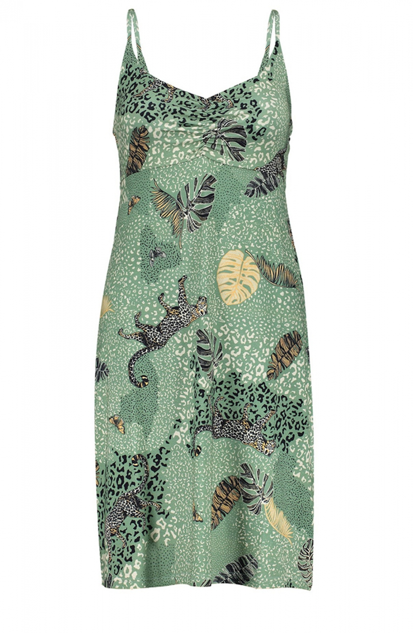 Geisha Dames Jurk met luipaardprint Groen