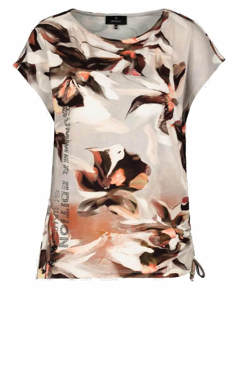 Monari Dames Shirt met strass tekst Grijs