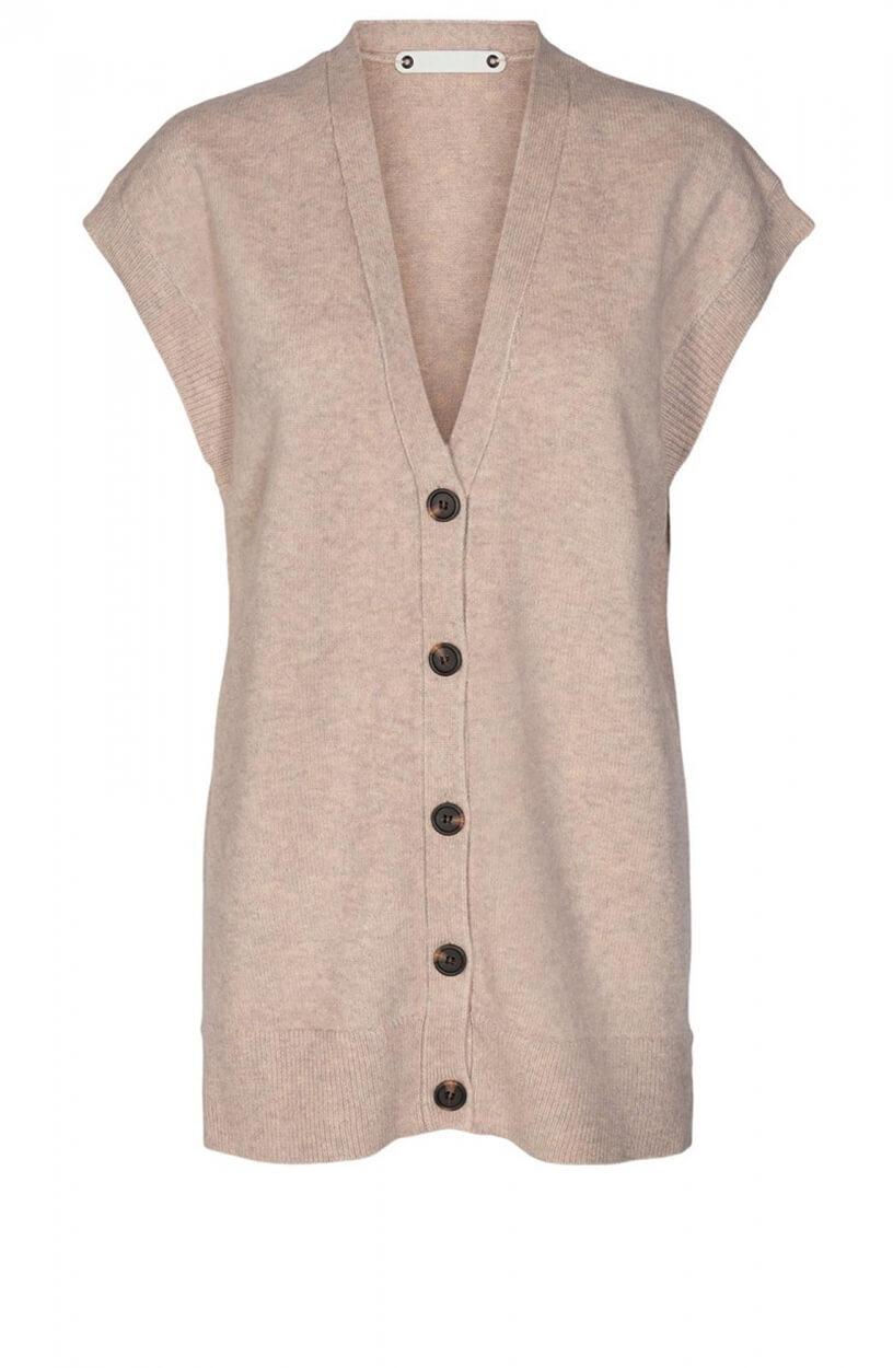 Co Couture Dames Rowie long button vest Bruin