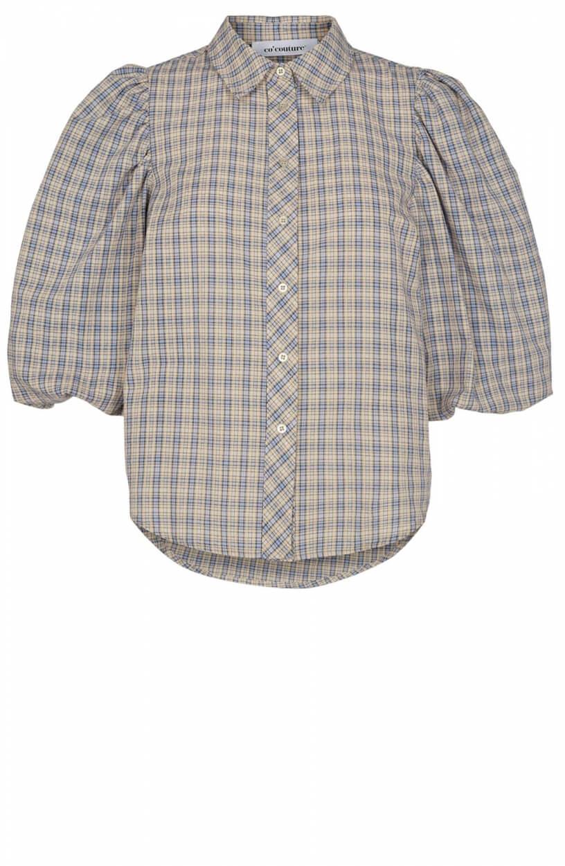 Co Couture Dames Blue mini check blouse Blauw