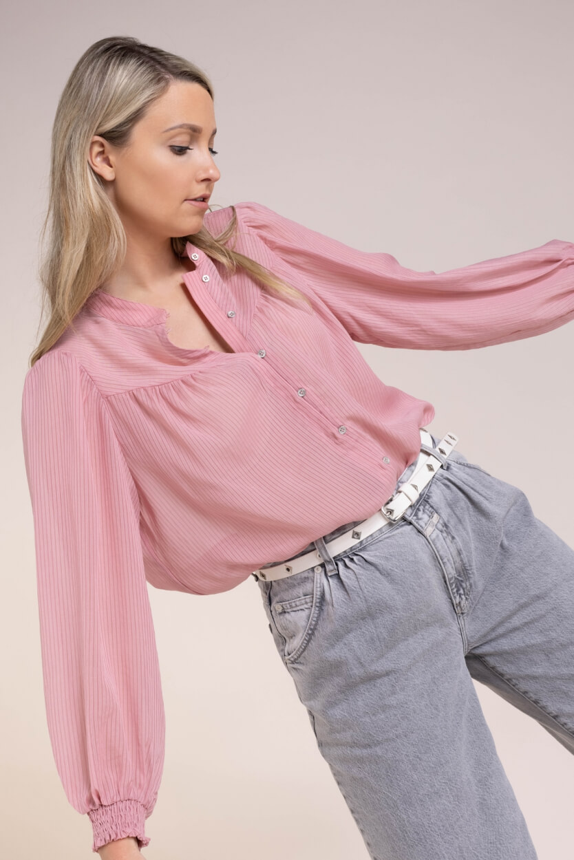 Co Couture Dames Lana stripe blouse Roze