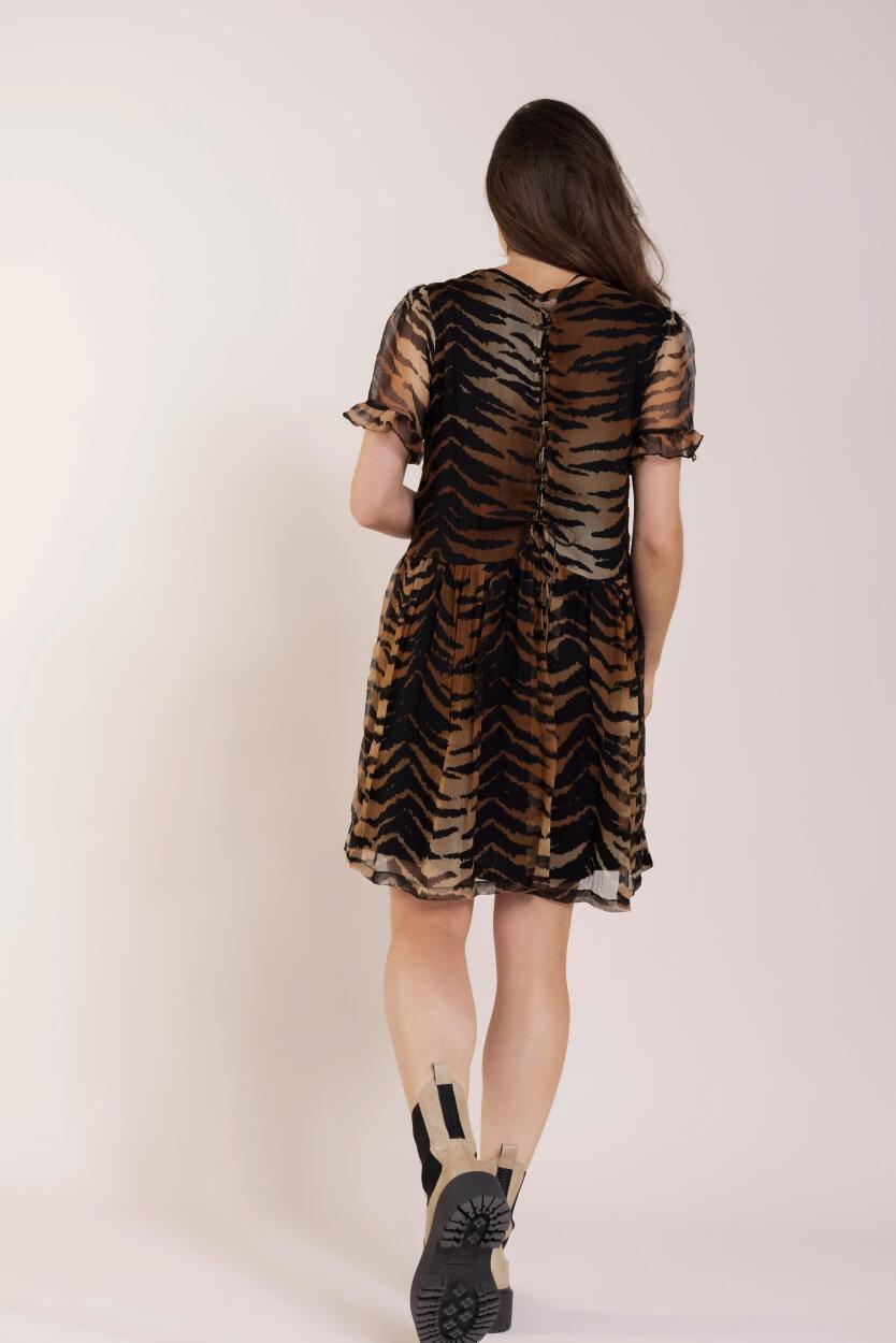 Alix The Label Dames Tiger chiffon jurk Zwart