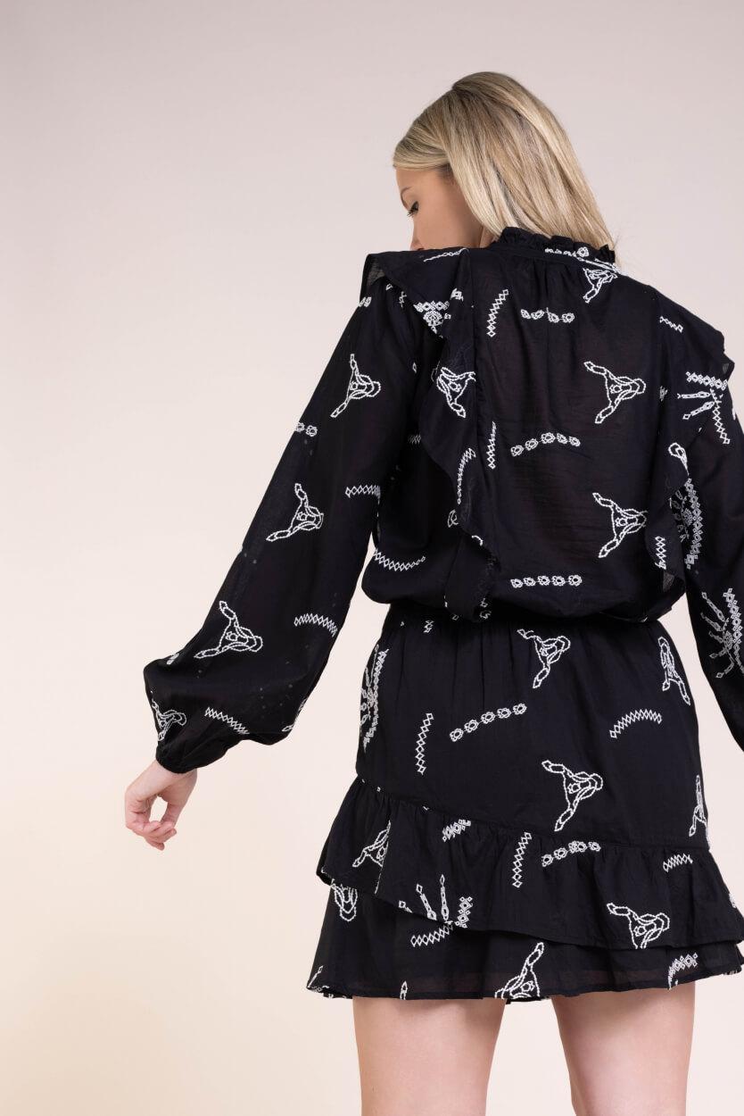Alix The Label Dames Broderie blouse Zwart