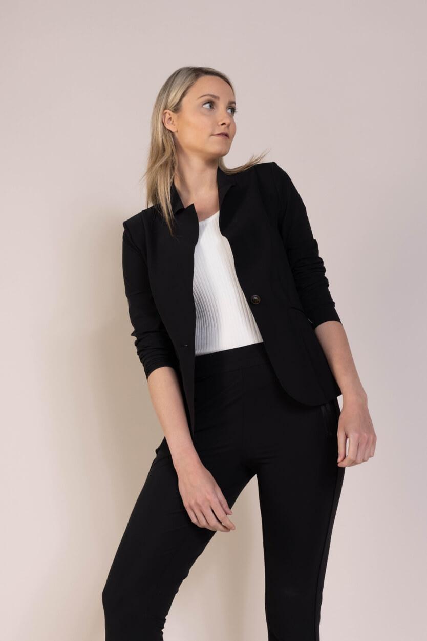 Anna Dames Blazer van travel kwaliteit Zwart