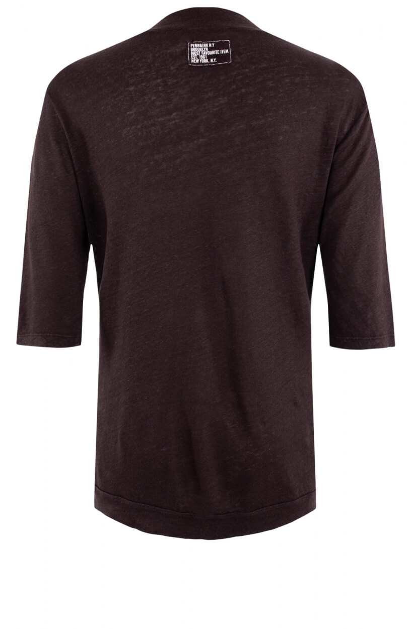 Penn & Ink Dames Linnen shirt Bruin