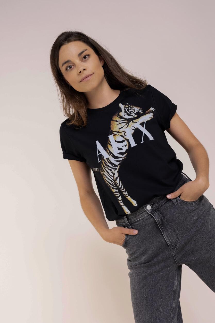 Alix The Label Dames Tiger t-shirt Zwart
