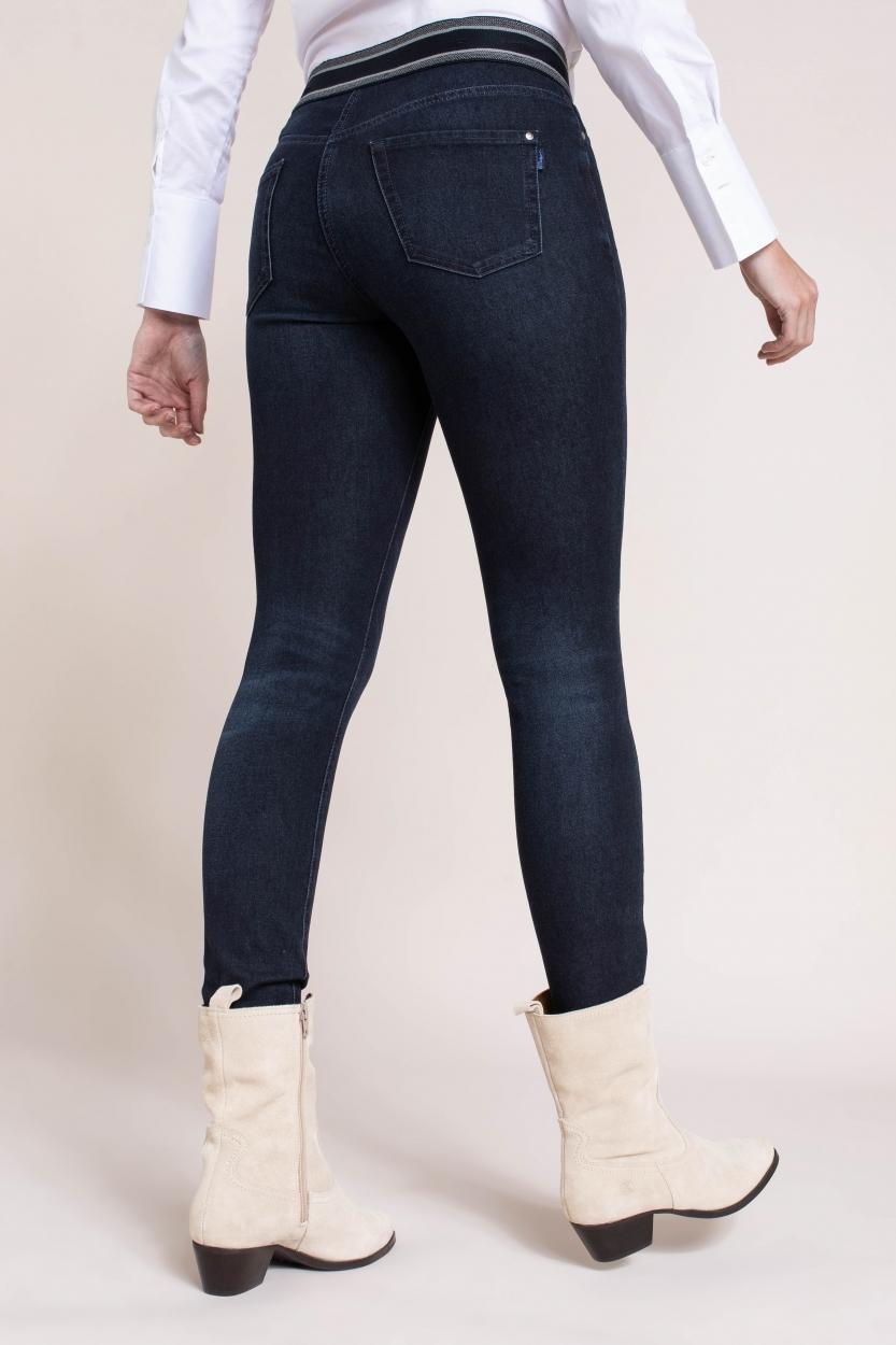 Cambio Dames Jeans met elastische band Blauw