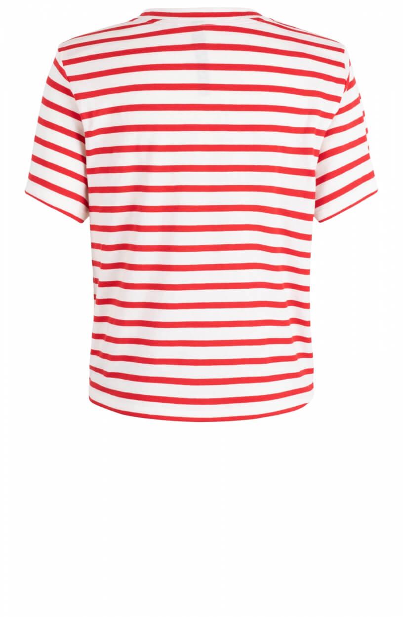 10 Days Dames Gestreept shirt met knoop Roze