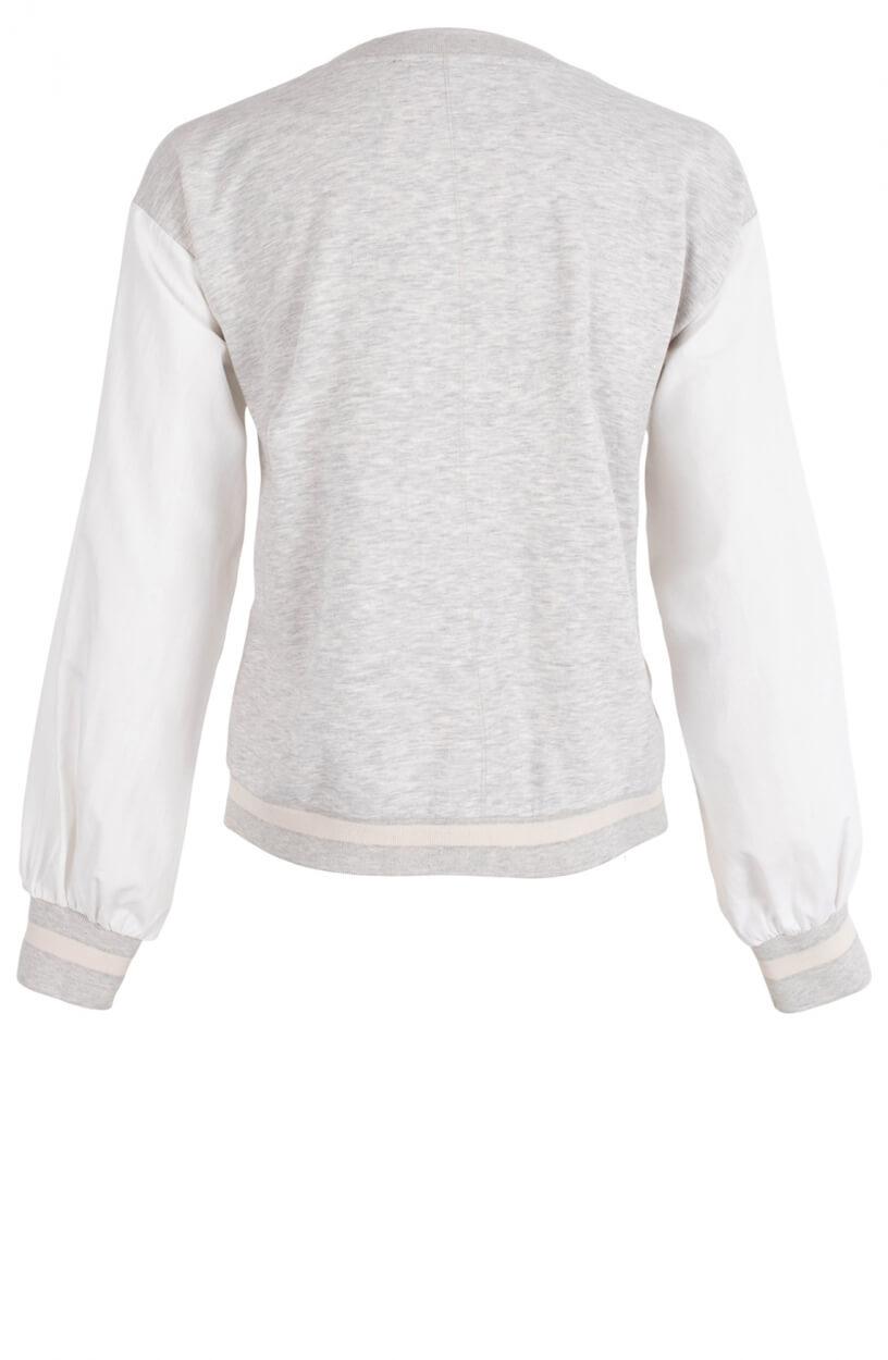 Anna Blue Dames Materiaalmix sweater Grijs