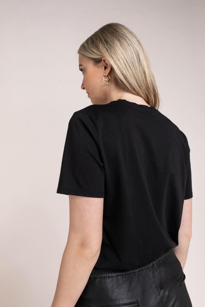 Anna Dames Shirt met geborduurde print Zwart