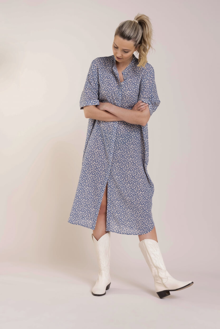 Co Couture Dames Jurk met bloemenprint Blauw