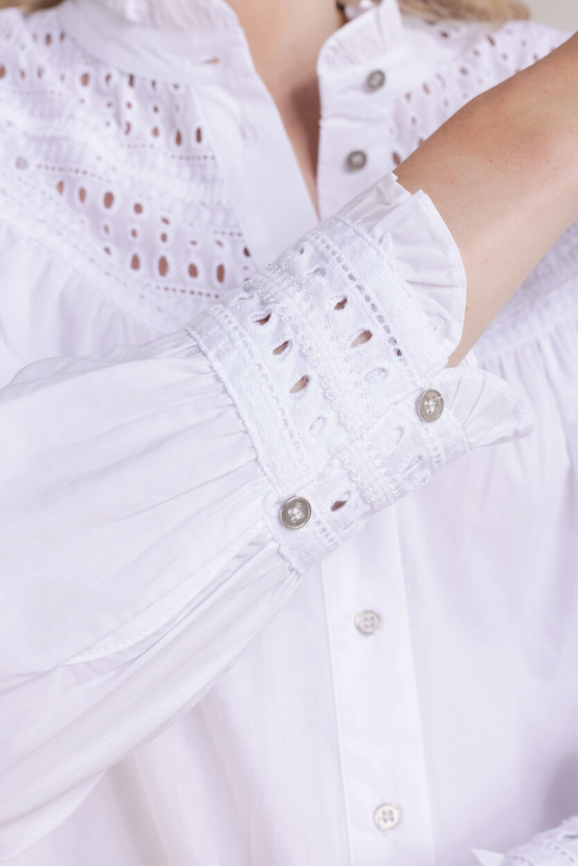 Co Couture Dames Blouse met broderie Wit