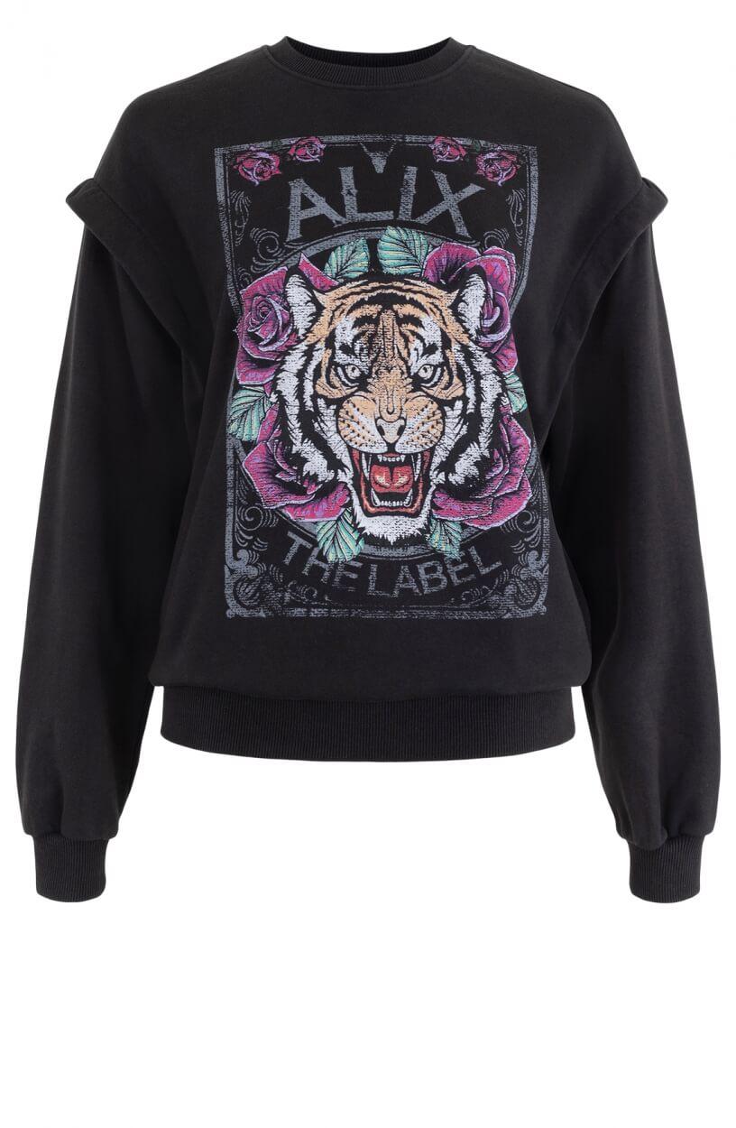 Alix The Label Dames Sweater met print Zwart