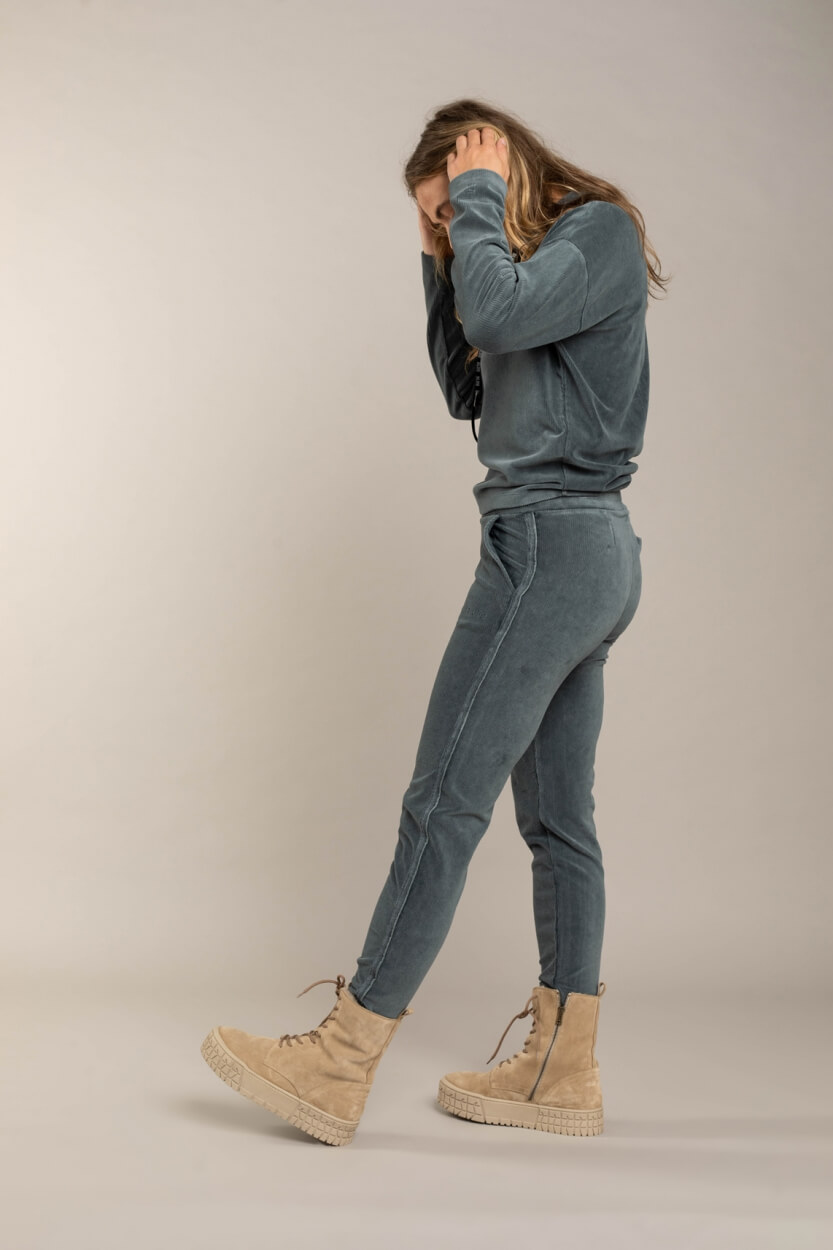 Anna Blue Dames Corduroy jogpant Groen