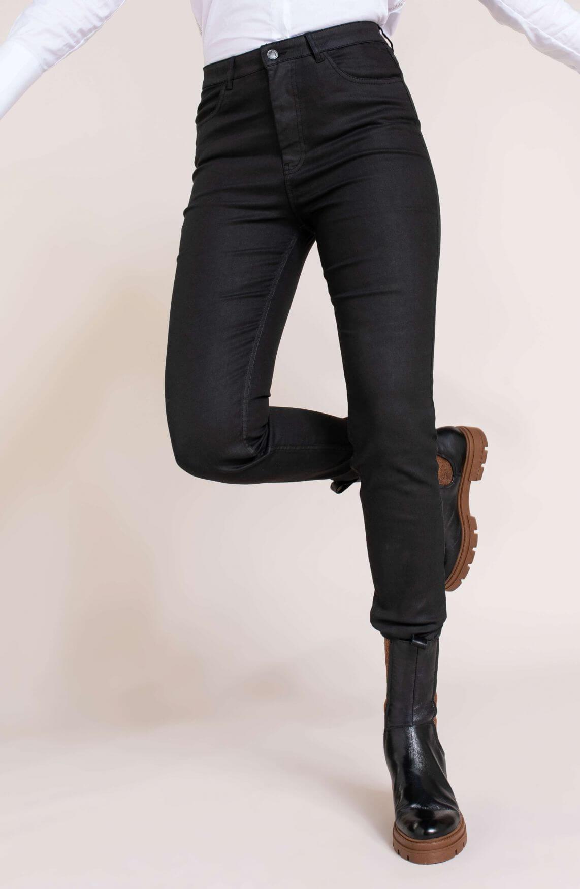 Anna Dames Gecoate broek Zwart
