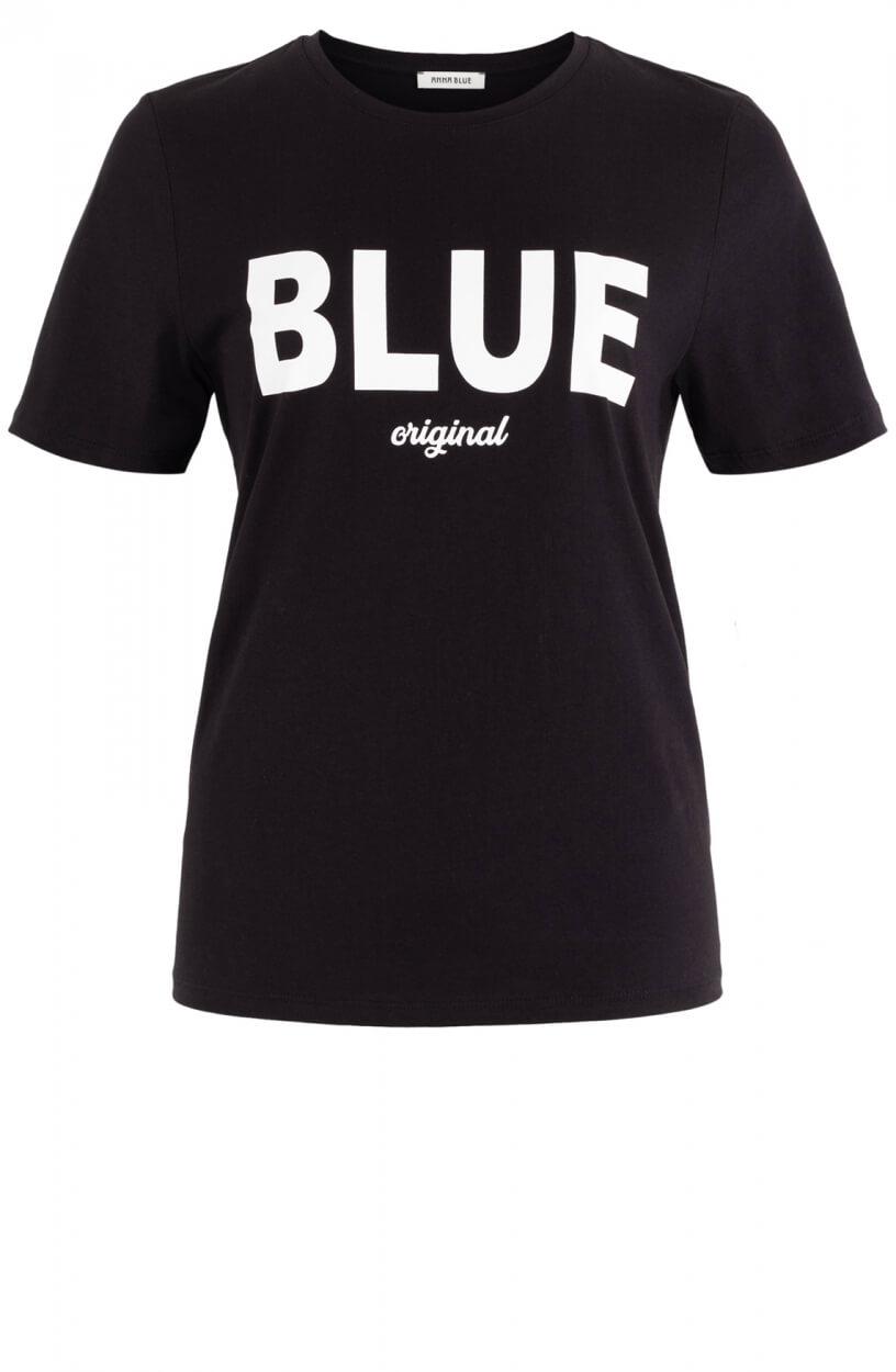 Anna Blue Dames Logo shirt Zwart