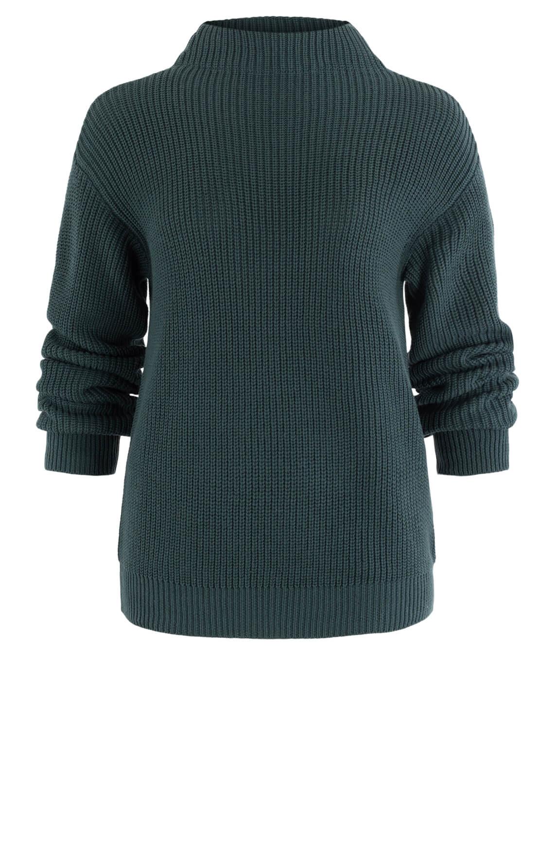 Anna Blue Dames Gebreide trui met hoge kraag Groen
