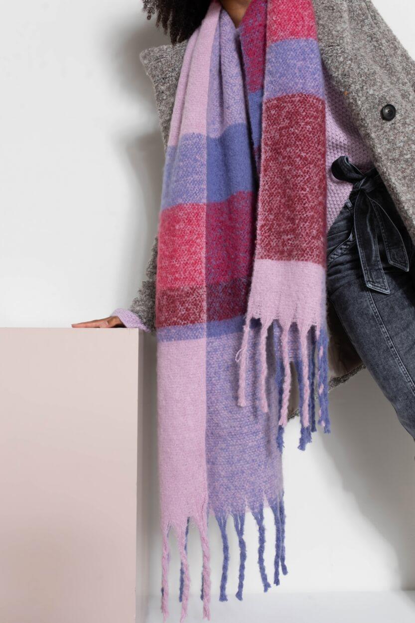 Anna Dames Colorblock shawl Paars