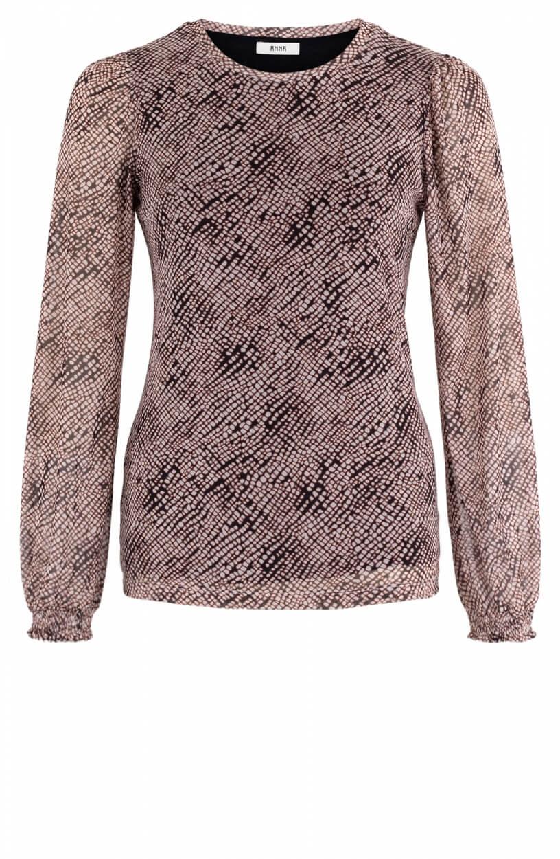 Anna Dames Mesh shirt Zwart