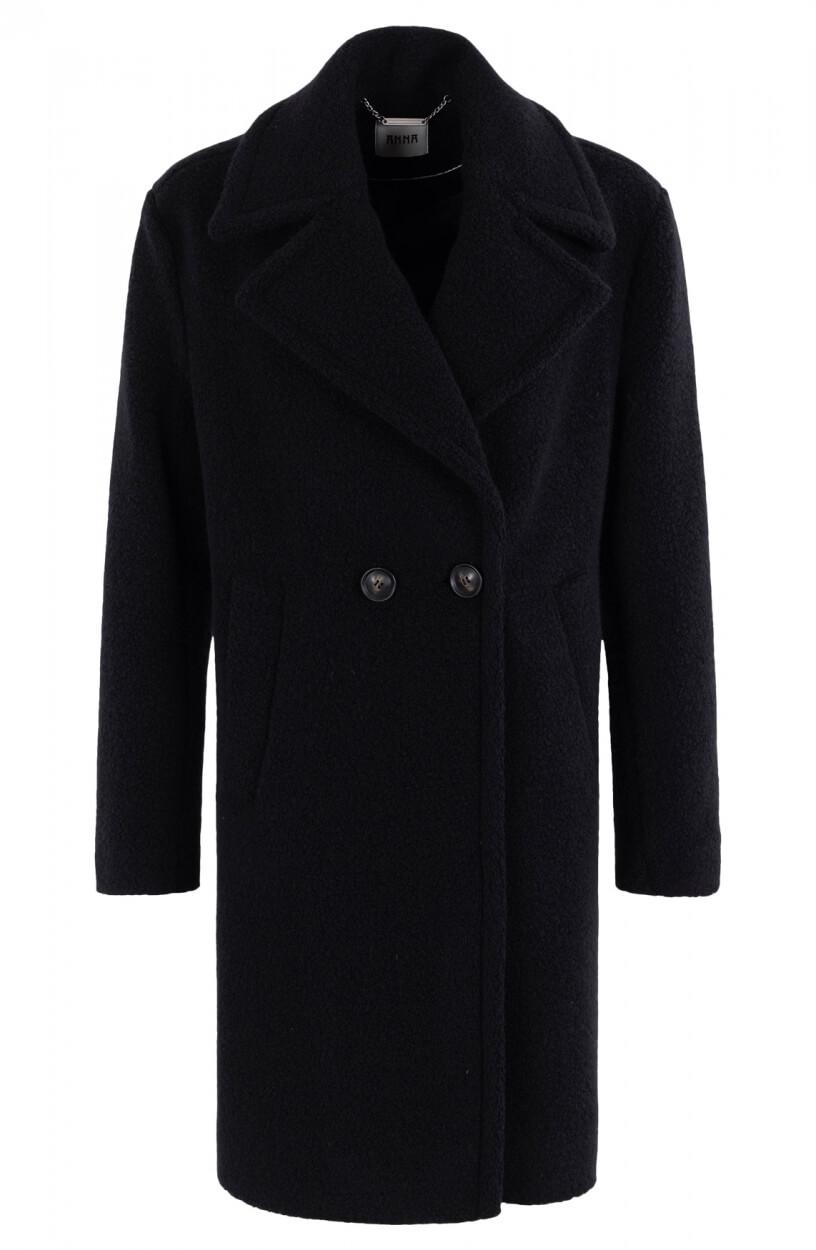 Anna Dames Wollen jas Zwart