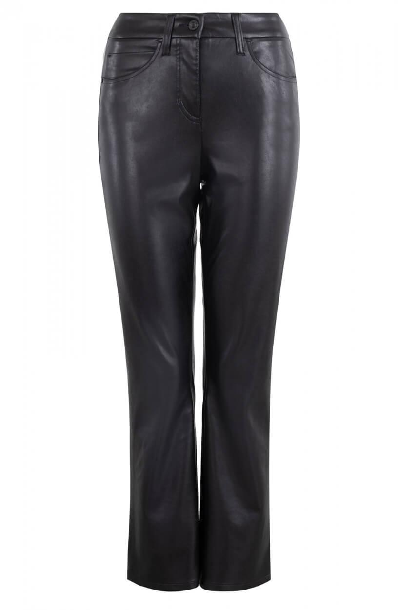 Cambio Dames Imitatieleren broek Zwart