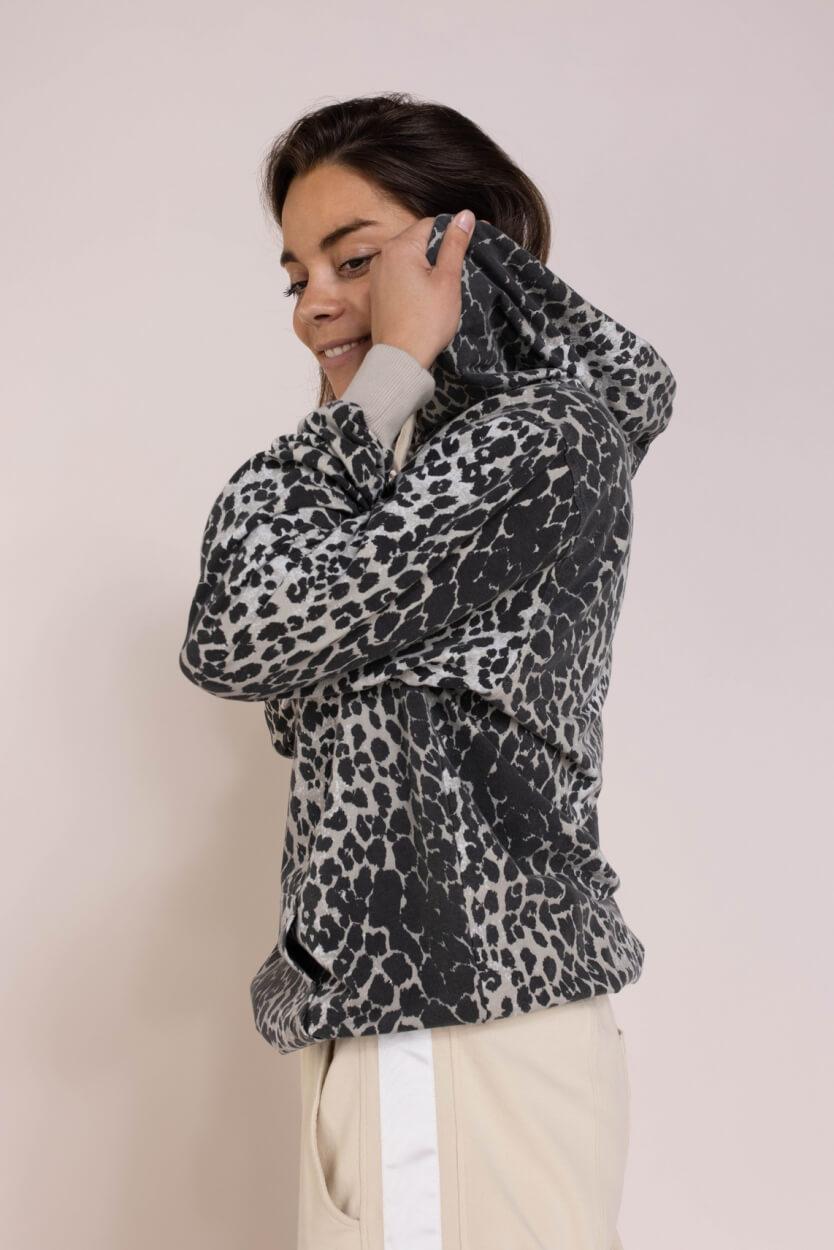 10 Days Dames Leopard hoodie Grijs