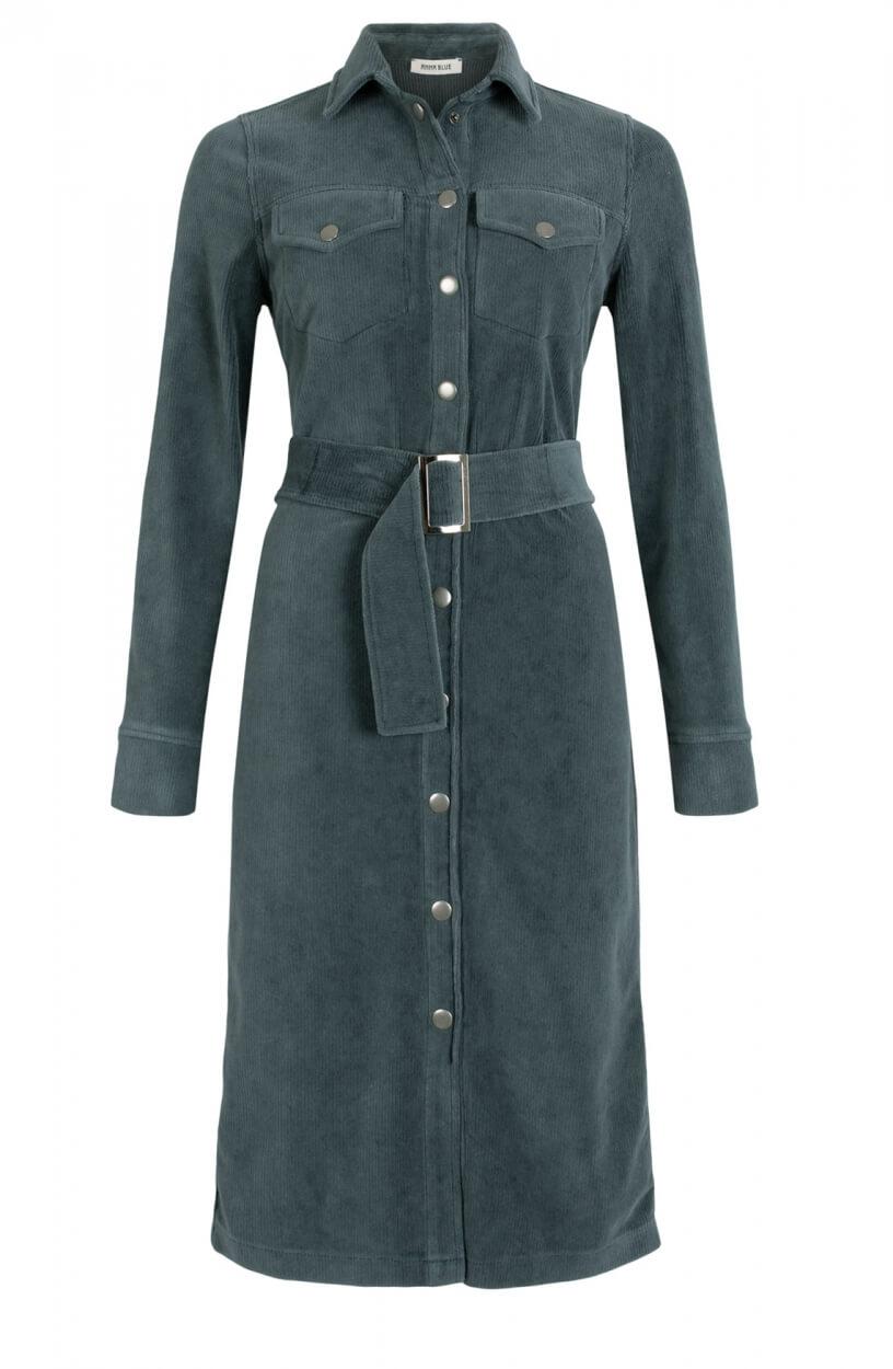 Anna Blue Dames Corduroy jurk Groen