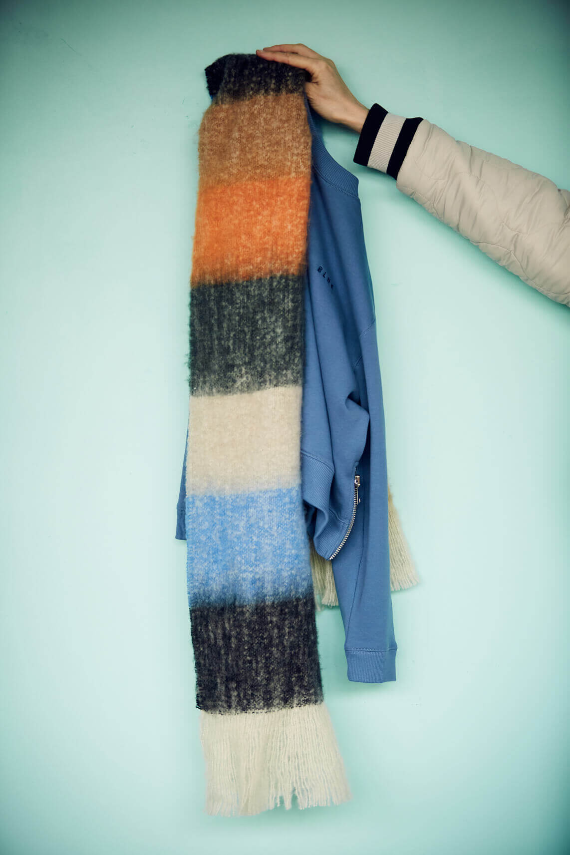 Anna Blue Dames Gestreepte sjaal Oranje