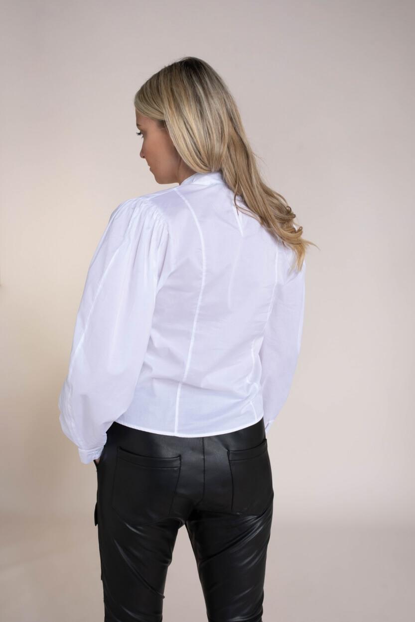 Penn & Ink Dames Blouse met pofmouwen Wit