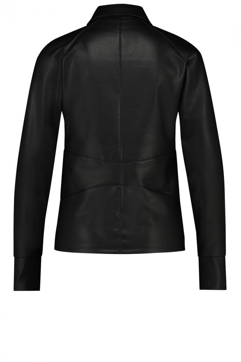 Penn & Ink Dames Imitatieleren blouse Zwart