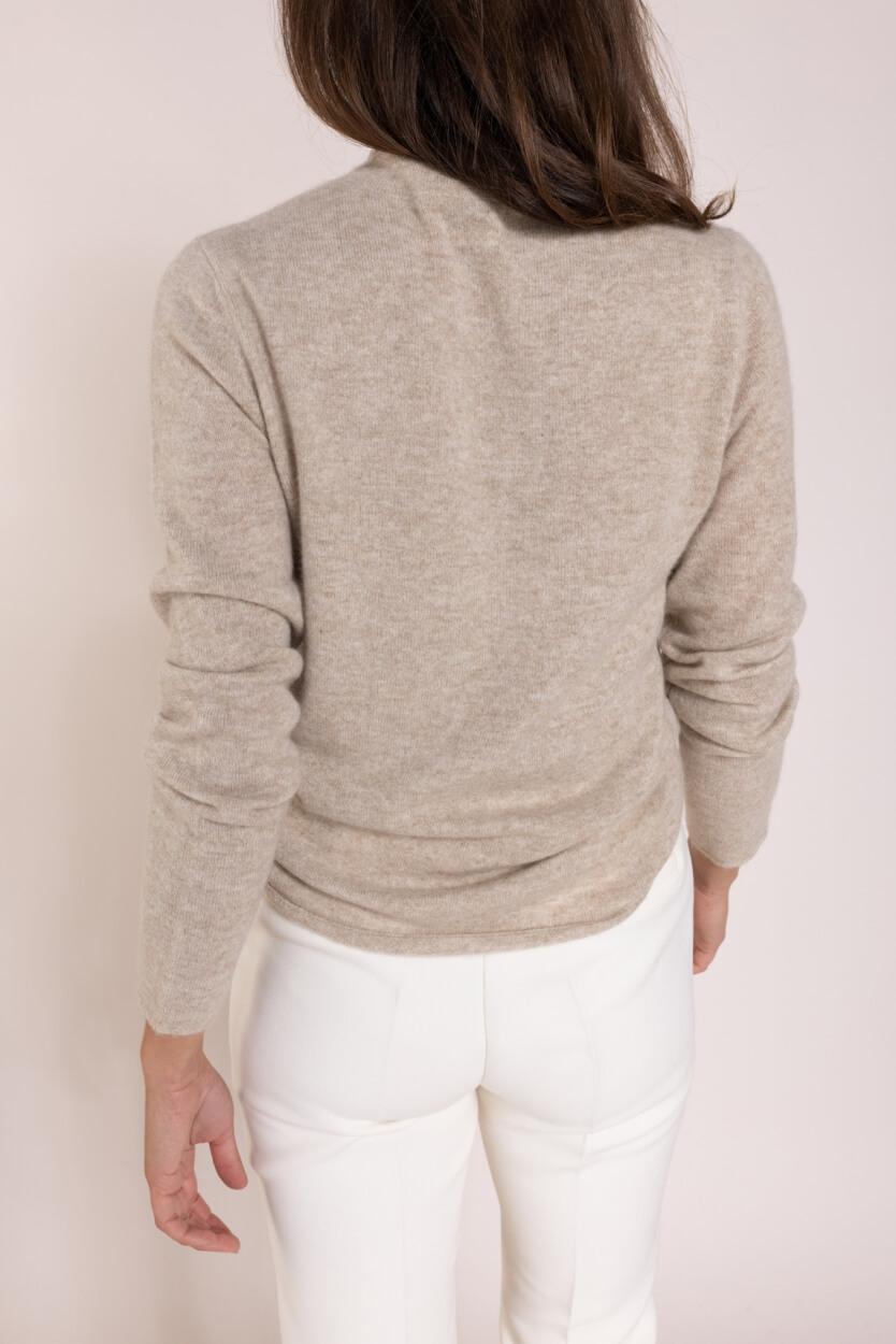 Anna Dames Cashmere pullover met col Bruin