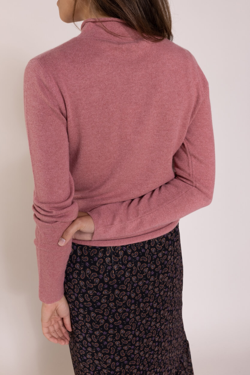 Anna Dames Cashmere pullover met col Roze