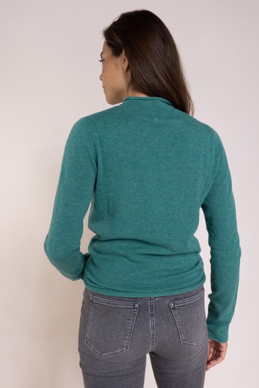 Anna Dames Cashmere pullover met col Groen