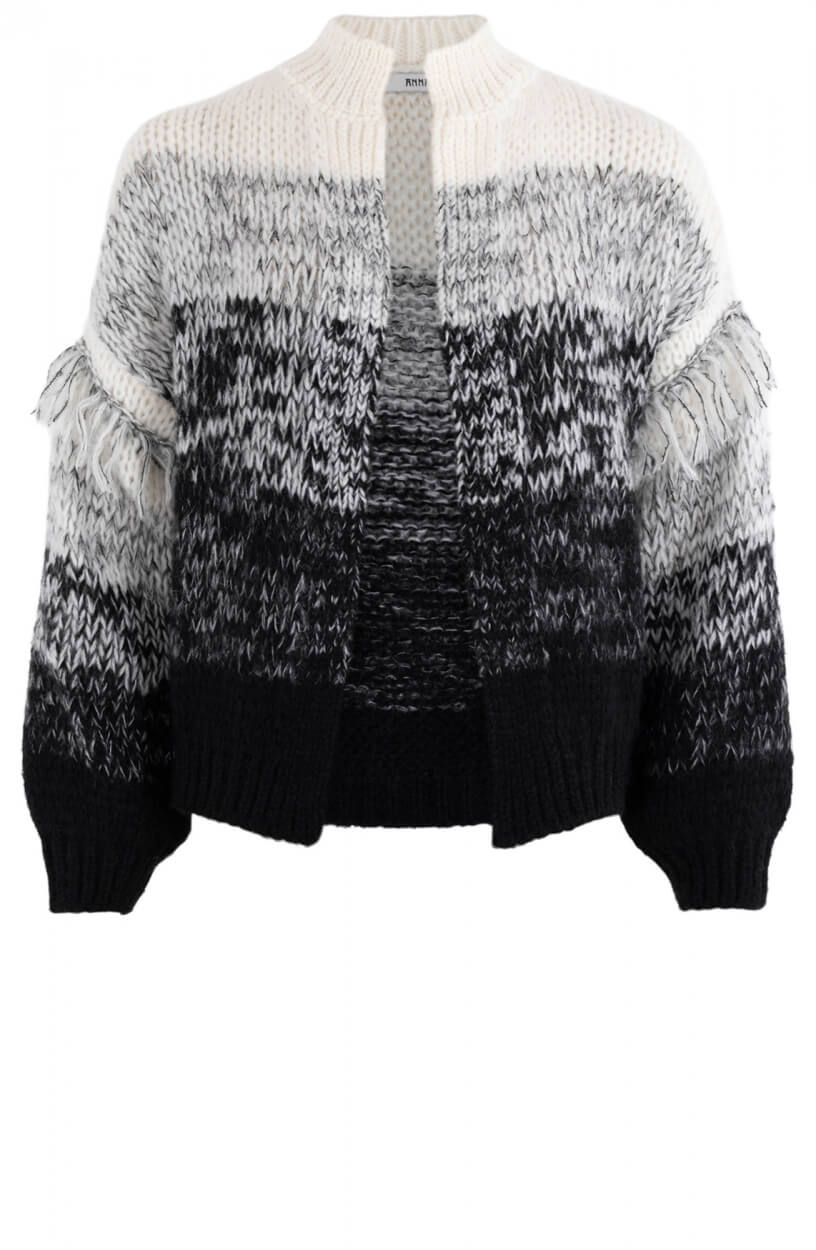 Anna Dames Vest met franjes Zwart