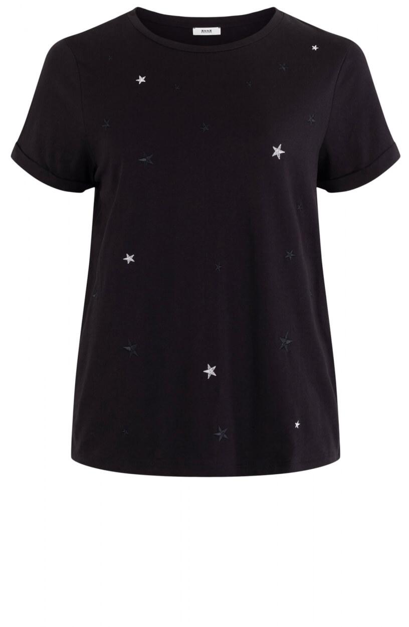 Anna Dames Shirt met sterren Zwart