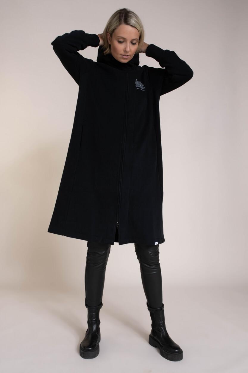Penn & Ink Dames Lang vest met capuchon Zwart