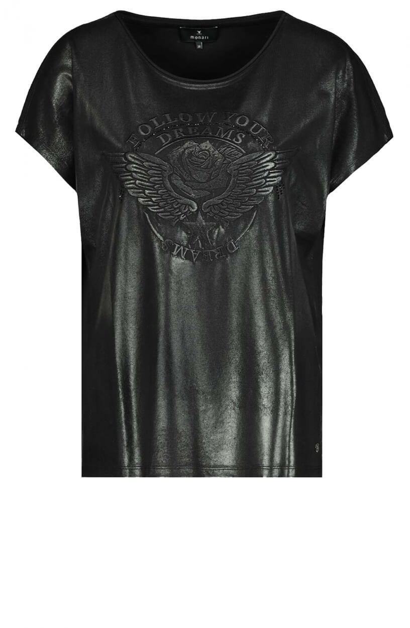 Monari Dames Shirt met artwork Zwart