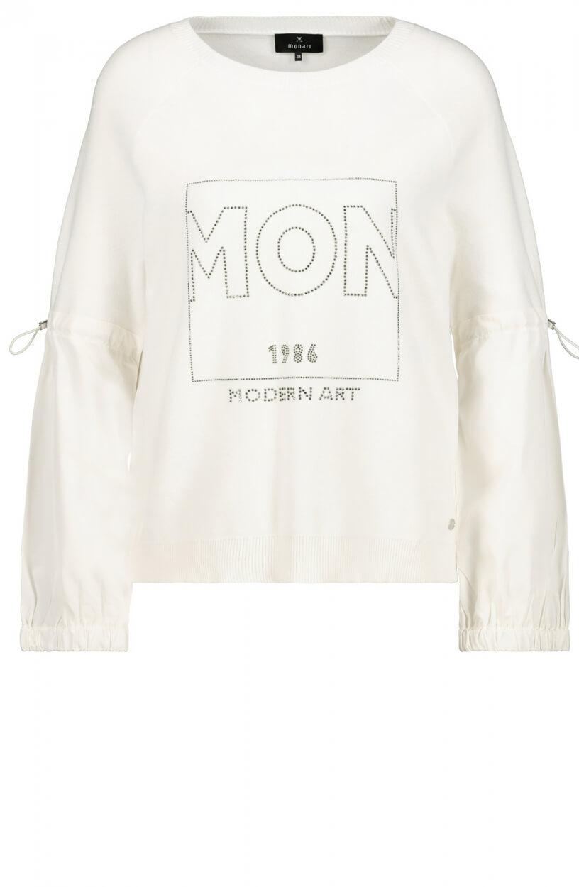 Monari Dames Pullover met strass Wit