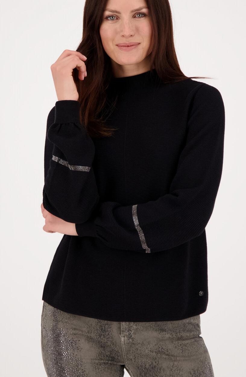 Monari Dames Ribgebreide pullover Zwart