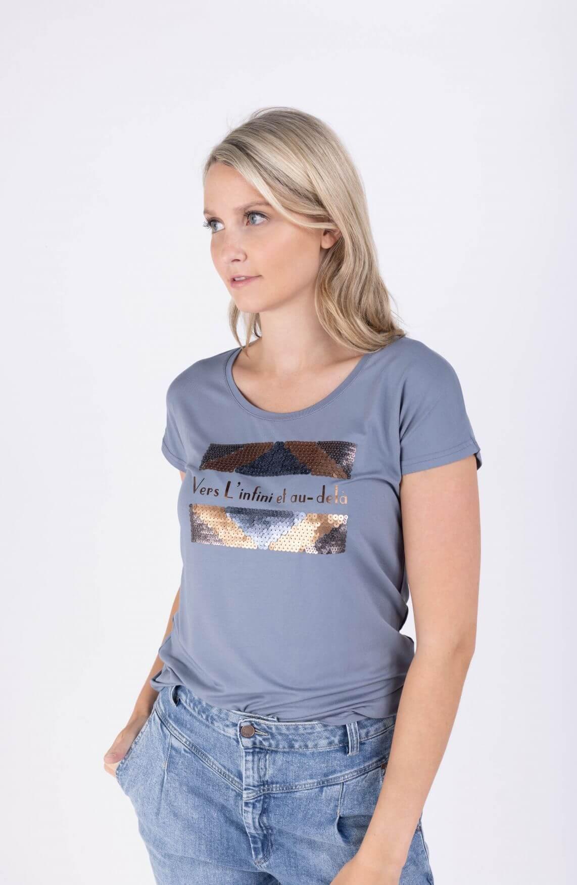 Poools Dames Shirt met pailletten Blauw