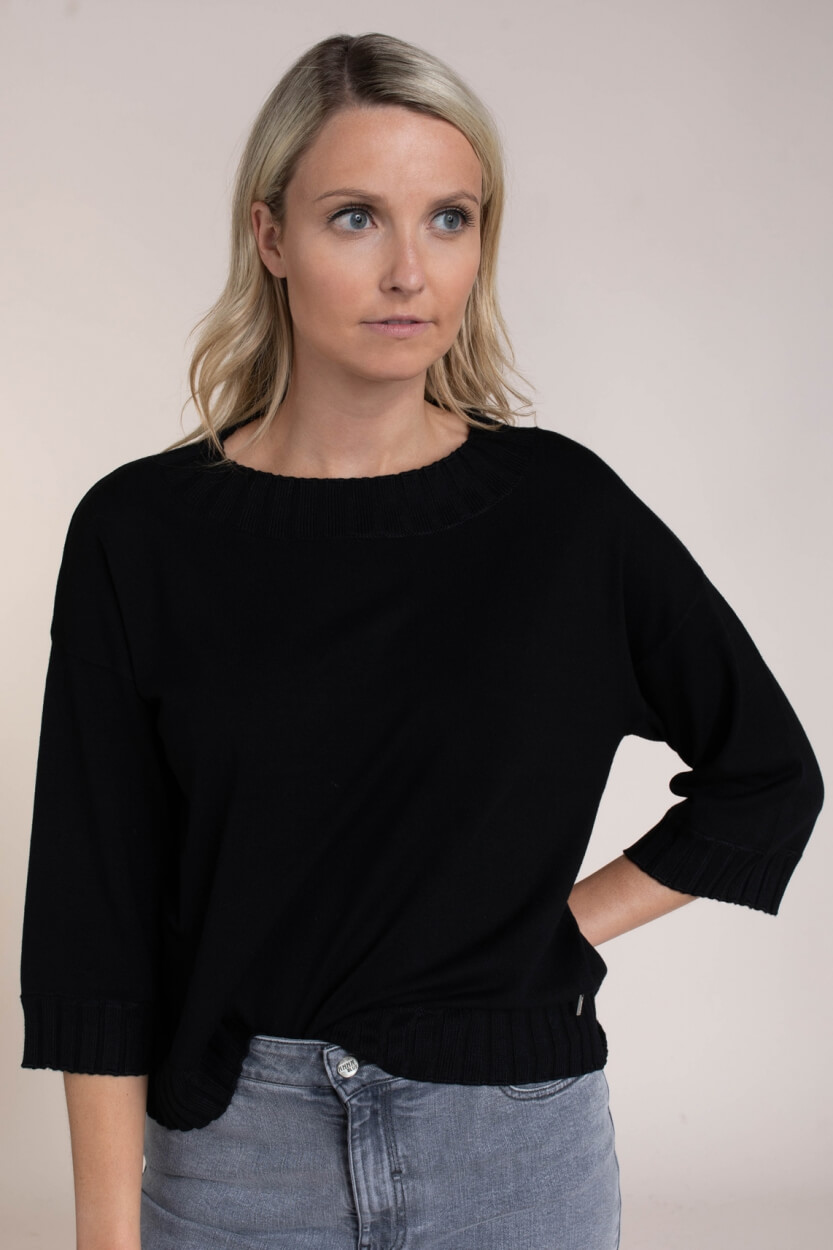 Anna Dames Wijde pull Zwart