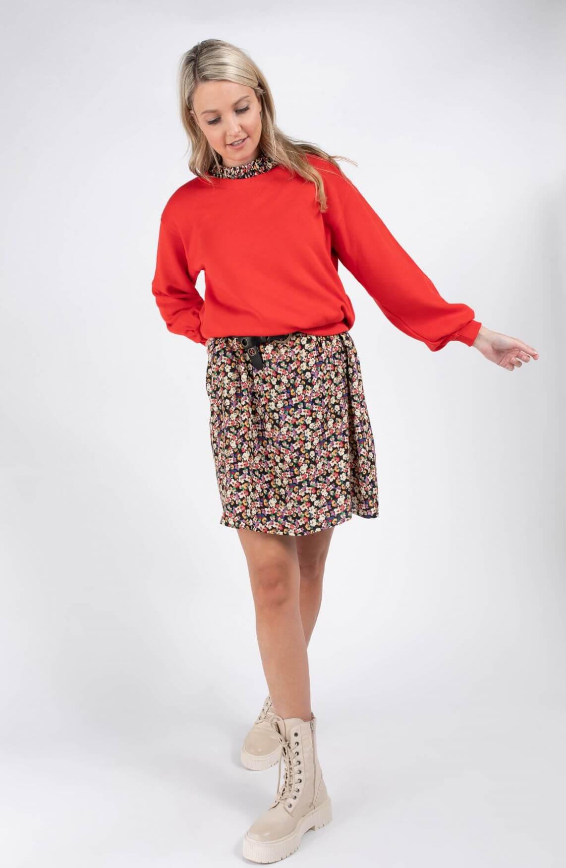 Anna Dames Sweater met pofmouw Rood