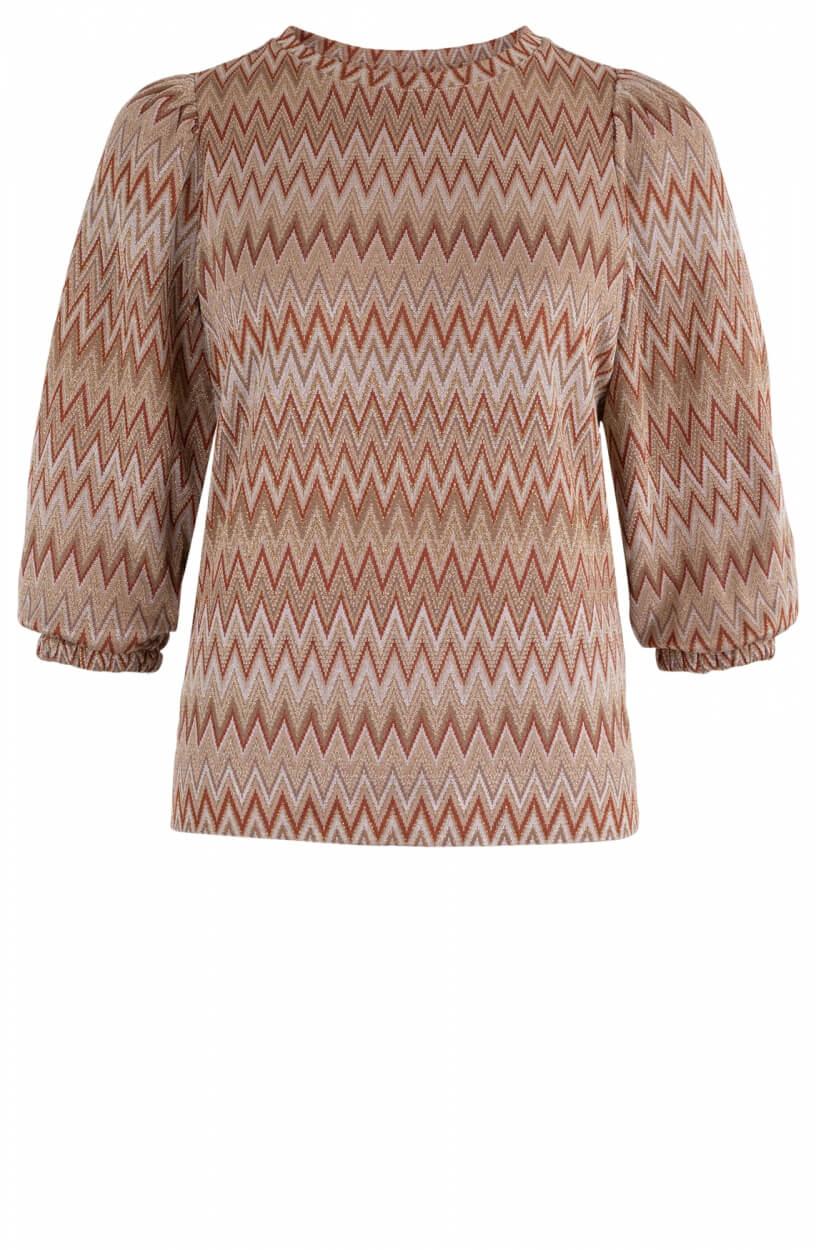 Anna Dames Shirt met lurex Bruin