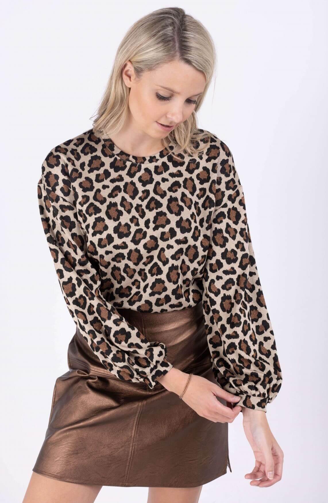 Anna Dames Sweater met panterprint Bruin