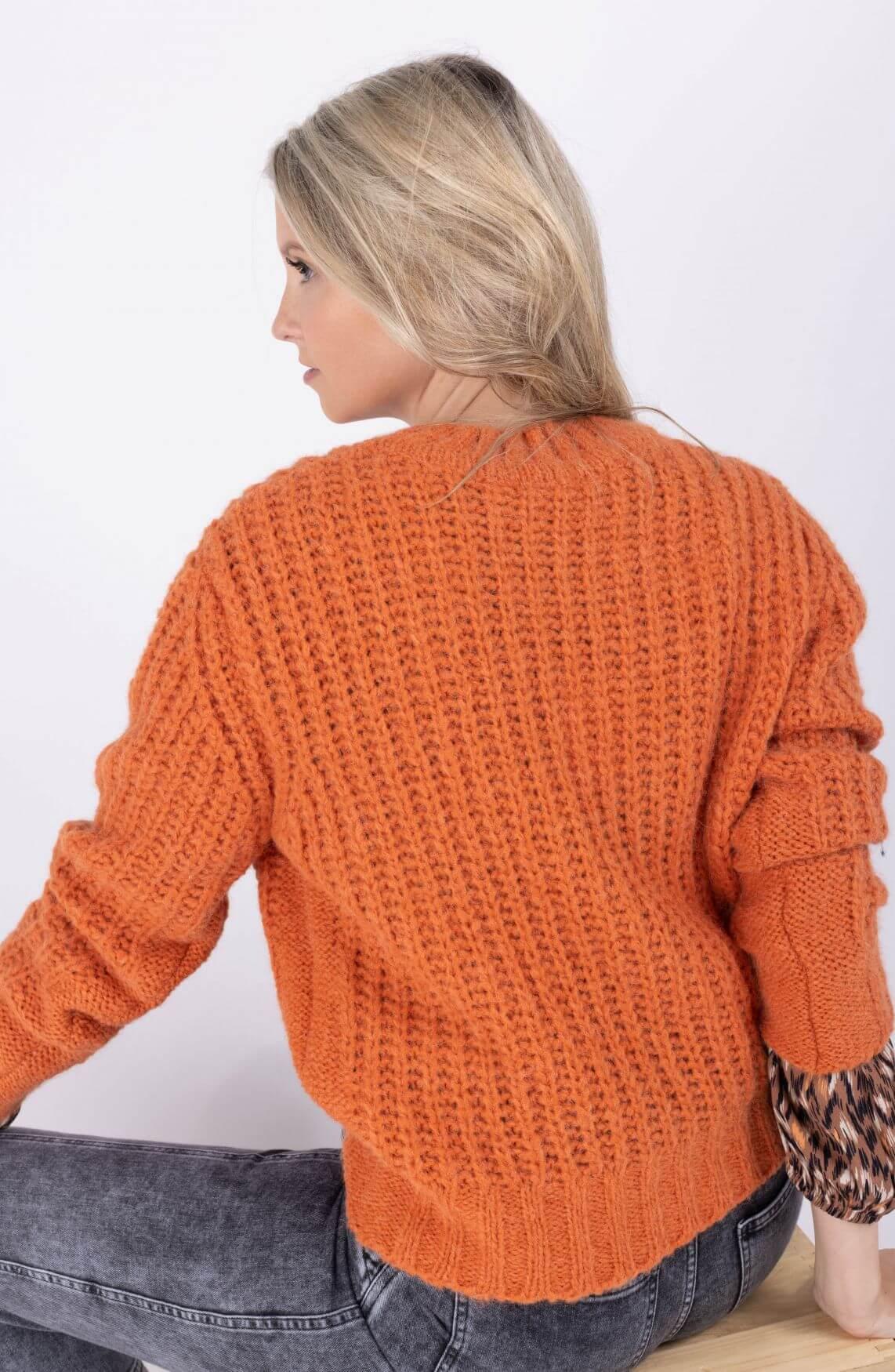 Anna Dames Trui in wolblend Oranje