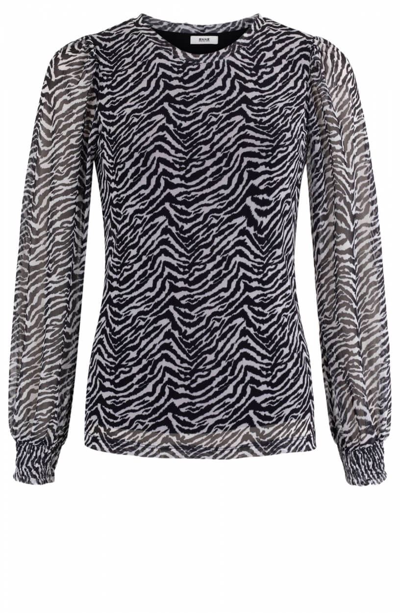 Anna Dames Shirt met zebraprint Wit