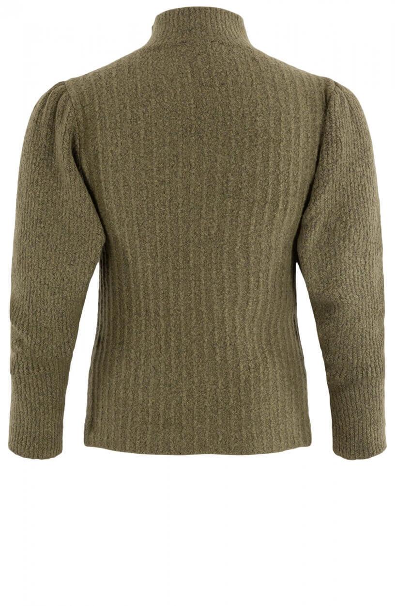 Penn & Ink Dames Pullover met ribstructuur Groen