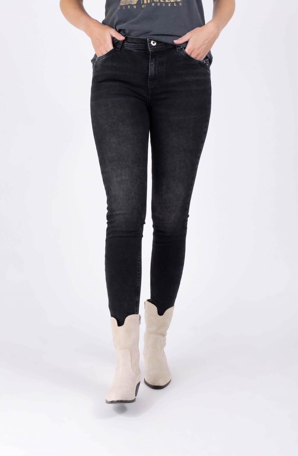 Geisha Dames Jeans met studs Grijs