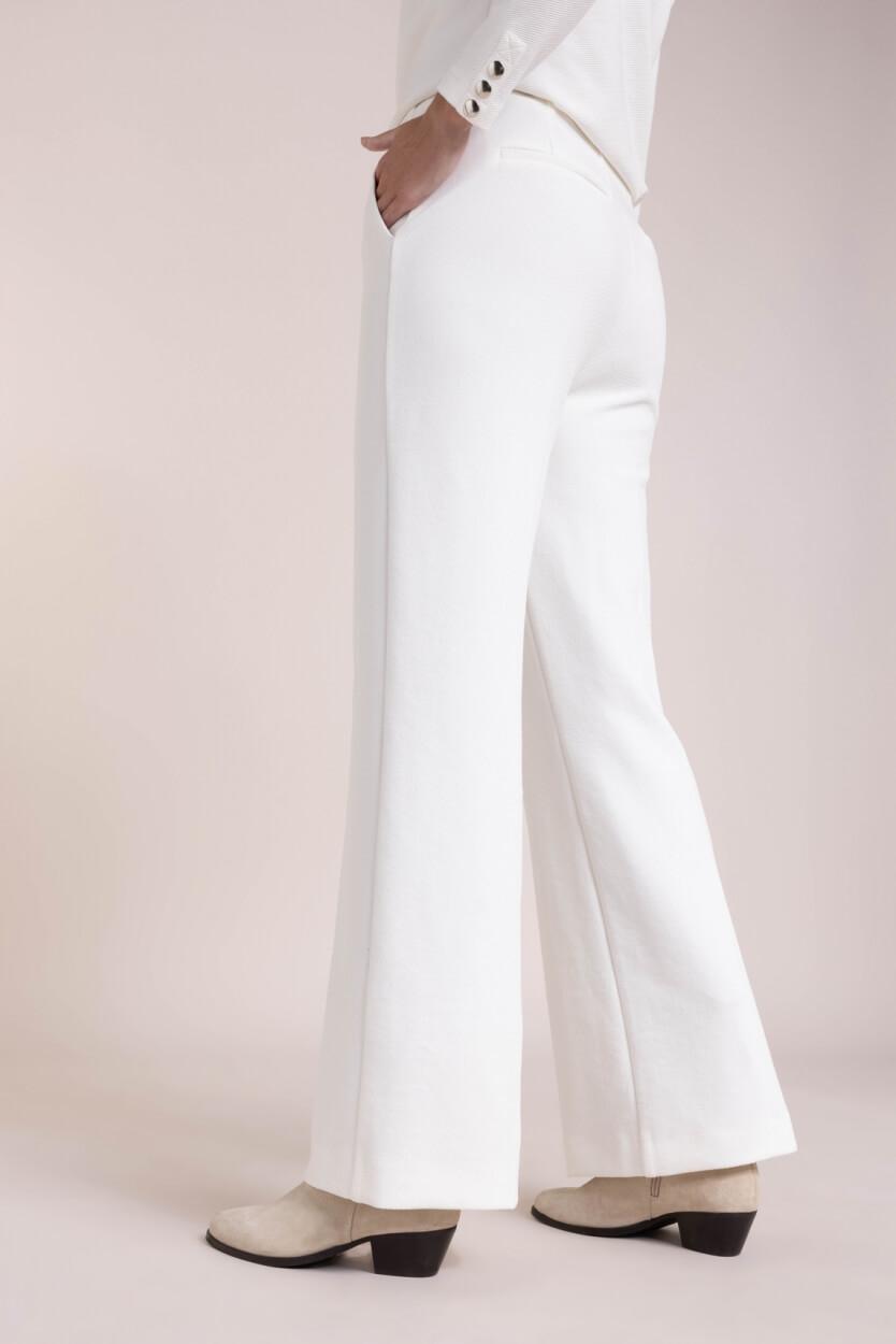 Anna Dames Pantalon met structuur Wit