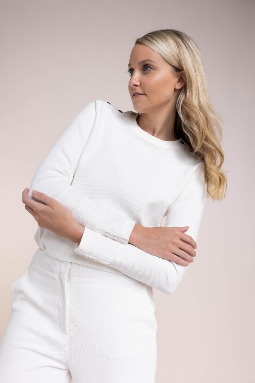 Anna Dames Sweater met structuur Wit